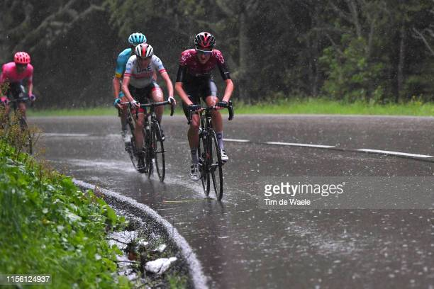 Wout Poels of The Netherlands and Team INEOS / Daniel Martin of Ireland and UAE Team Emirates / Jakob Fuglsang of Denmark and Astana Pro Team /...