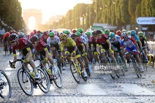 Wout Poels of The Netherlands and Team INEOS / Michal Kwiatkowski of Poland and Team INEOS / Egan Bernal of Colombia and Team INEOS Yellow Leader...
