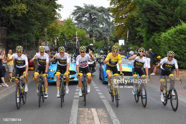 Wout Poels of The Netherlands and Team Sky / Christopher Froome of Great Britain and Team Sky / Luke Rowe of Great Britain and Team Sky / Michal...