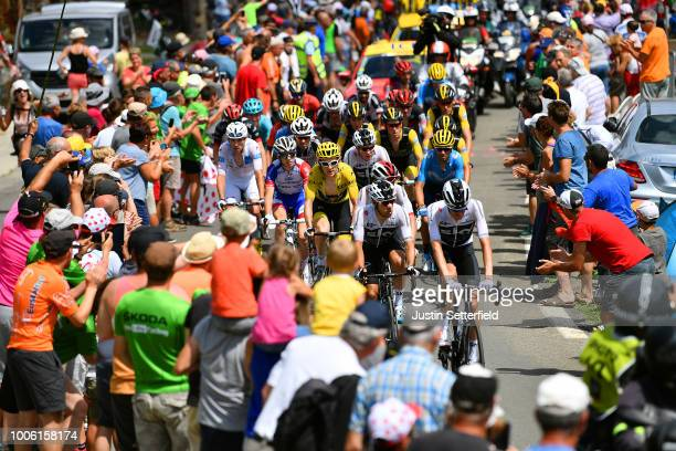 Wout Poels of The Netherlands and Team Sky / Jonathan Castroviejo of Spain and Team Sky / Geraint Thomas of Great Britain and Team Sky Yellow Leader...