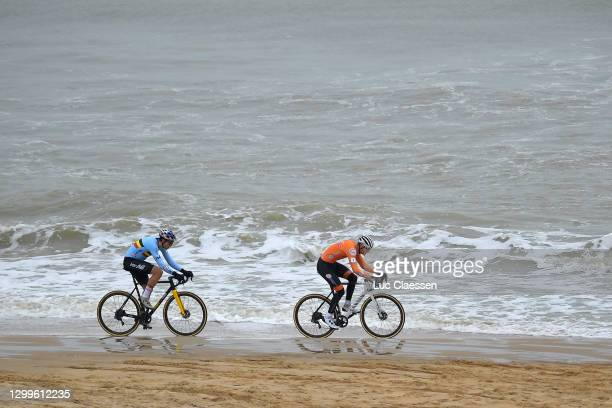 Wout Van Aert of Belgium and Mathieu Van Der Poel of The Netherlands / Sea / Sand / Beach / during the 72nd UCI Cyclo-Cross World Championships...