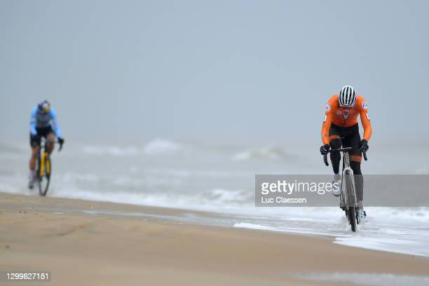 Wout Van Aert of Belgium and Mathieu Van Der Poel of The Netherlands / Sand / Sea / during the 72nd UCI Cyclo-Cross World Championships Oostende...