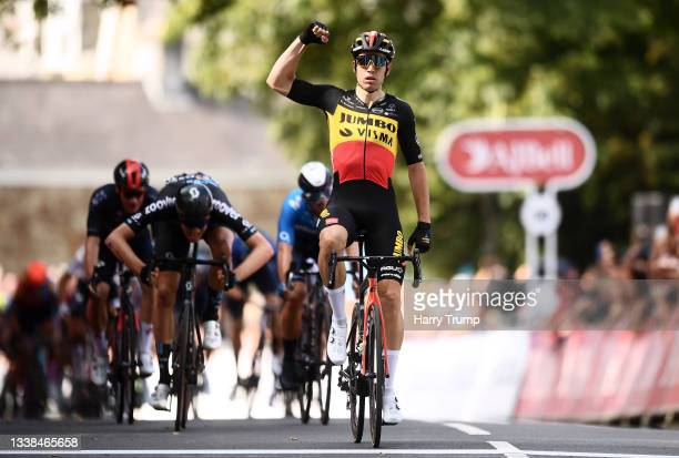 Wout Van Aert of Belgium and Team Jumbo - Visma celebrates winning during the 17th Tour of Britain 2021, Stage 1 a 180,8km stage from Penzance to...