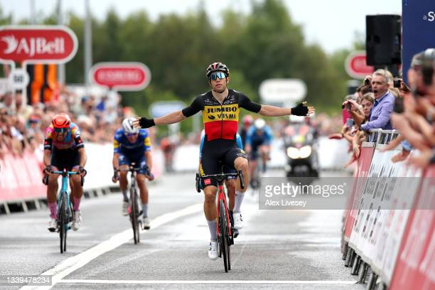 Wout Van Aert of Belgium and Team Jumbo - Visma celebrates winning during the 17th Tour of Britain 2021, Stage 6 a 198km stage from Carlisle to...