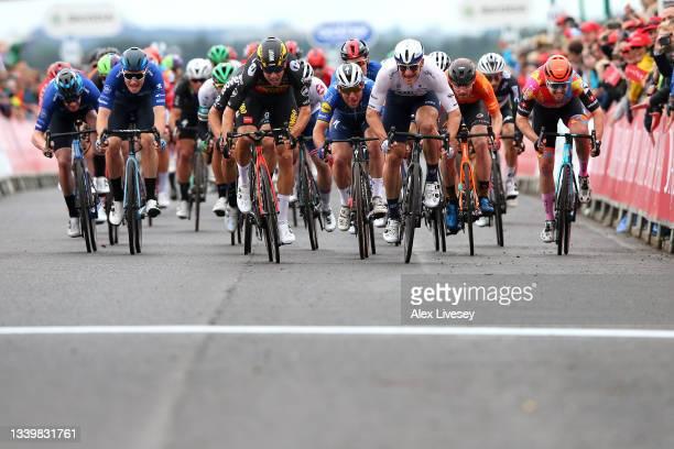 Wout Van Aert of Belgium and Team Jumbo - Visma, Mark Cavendish of United Kingdom and Team Deceuninck - Quick-Step, André Greipel of Germany and Team...
