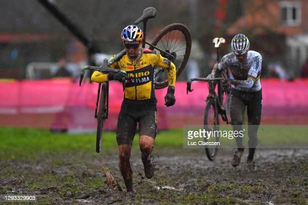 Wout Van Aert of Belgium and Team Jumbo - Visma / Mathieu Van Der Poel of The Netherlands and Team Alpecin - Fenix / Mud / during the 1st Dendermonde...