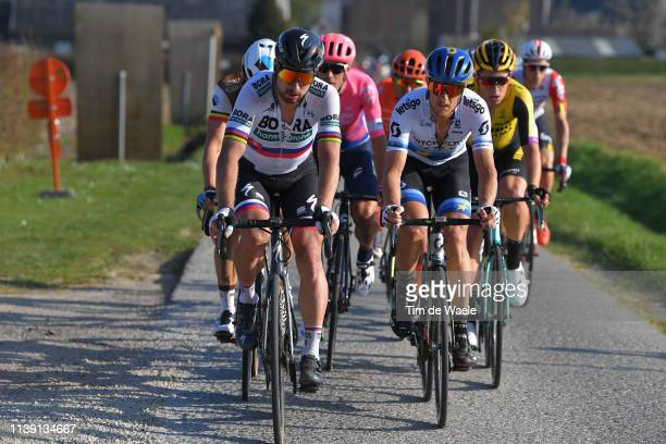 Wout Van Aert of Belgium and Team Jumbo - Visma / Matteo Trentin of Italy and Team Mitchelton Scott / Peter Sagan of Slovakia and Team Bora -...
