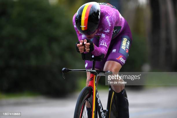 Wout Van Aert of Belgium and Team Jumbo - Visma Purple Sprint Jersey during the 56th Tirreno-Adriatico 2021, Stage 7 a 10,1km Individual Time Trial...