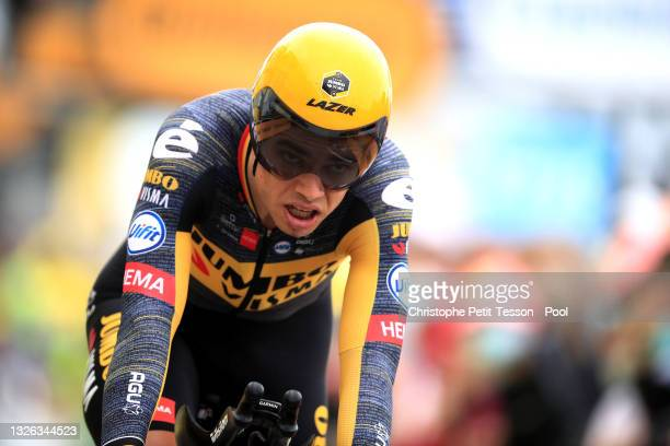 Wout Van Aert of Belgium and Team Jumbo-Visma at arrival during the 108th Tour de France 2021, Stage 5 a 27,2km Individual Time Trial stage from...