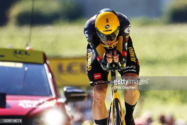 Wout Van Aert of Belgium and Team Jumbo-Visma at arrival during the 108th Tour de France 2021, Stage 20 a 30,8km Individual Time Trial Stage from...
