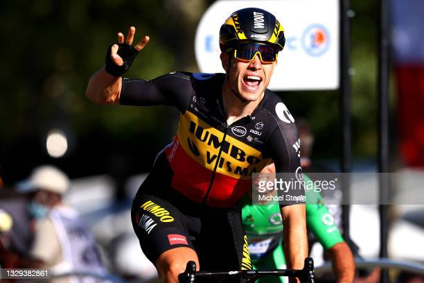 Wout Van Aert of Belgium and Team Jumbo-Visma celebrates at arrival during the 108th Tour de France 2021, Stage 21 a 108,4km stage from Chatou to...