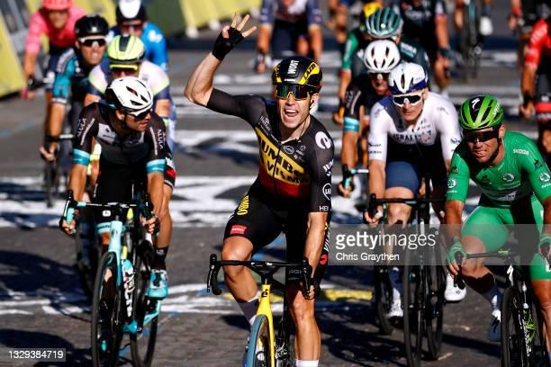 Wout Van Aert of Belgium and Team Jumbo-Visma celebrates at arrival ahead of Mark Cavendish of The United Kingdom and Team Deceuninck - Quick-Step...