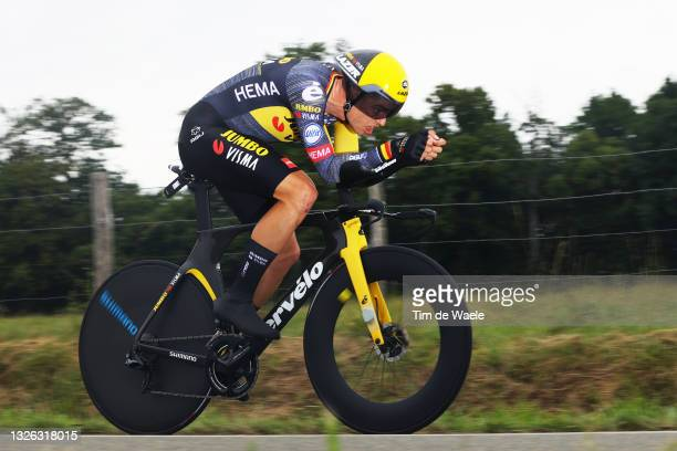 Wout Van Aert of Belgium and Team Jumbo-Visma during the 108th Tour de France 2021, Stage 5 a 27,2km Individual Time Trial stage from Changé to Laval...