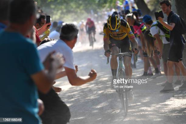 Wout van Aert of Belgium and Team Jumbo-Visma / Dust / Fans / Public / during the Eroica - 14th Strade Bianche 2020 - Men a 184km race from Siena to...