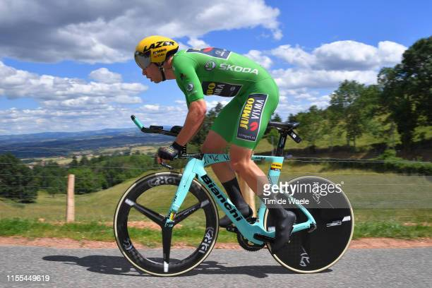 Wout Van Aert of Belgium and Team JumboVisma Green Points Jersey / during the 71st Criterium du Dauphine 2019 Stage 4 a 261km Individual Time Trial...