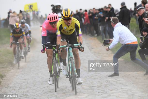 Wout Van Aert of Belgium and Team Jumbo-Visma / Sep Vanmarcke of Belgium and Team EF Education First / Cobblestones / Fans / Public / during the...