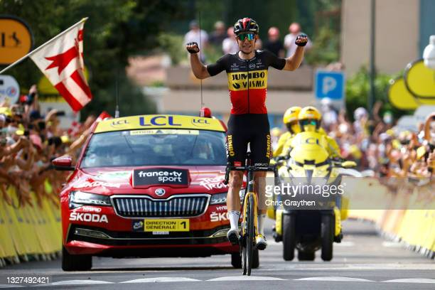 Wout Van Aert of Belgium and Team Jumbo-Visma stage winner celebrates at arrival during the 108th Tour de France 2021, Stage 11 a 198,9km km stage...