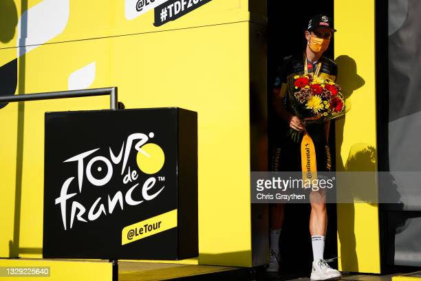 Wout Van Aert of Belgium and Team Jumbo-Visma stage winner celebrates at podium during the 108th Tour de France 2021, Stage 20 a 30,8km Individual...