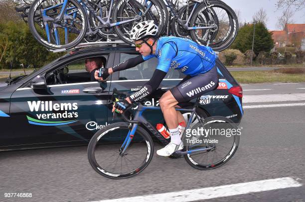 Wout Van Aert of Belgium And Team Veranda's Willems Crelan / Car / during the 80th GentWevelgem In Flanders Fields 2018 a 2508km race from Deinze to...