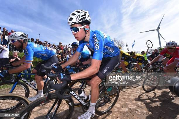 Wout Van Aert of Belgium And Team Veranda's Willems Crelan / Pave Cobblestones / Fans / Public / during the 116th Paris Roubaix 2018 a 257km race...