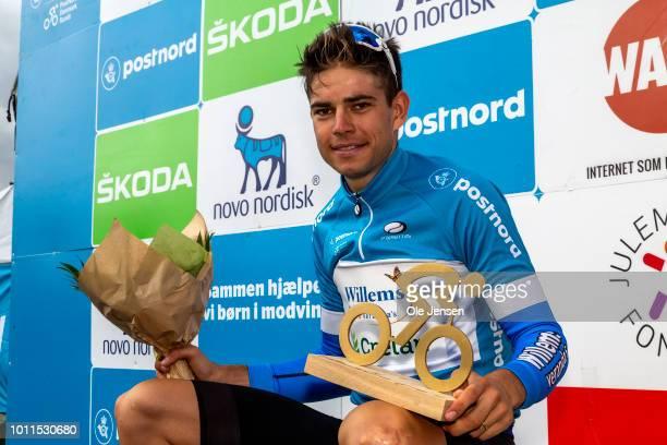 Wout van Aert of Belgium and team Veranda's WillemsCrelan poses after winning Tour of Denmark on August 5 2018 in Frederiksberg Denmark