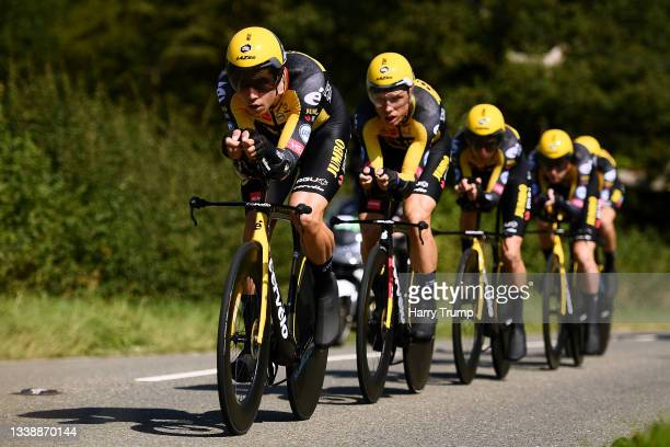 Wout Van Aert of Belgium and Tony Martin of Germany and Team Jumbo - Visma lead his teammates during the 17th Tour of Britain 2021, Stage 3 a 18,2km...