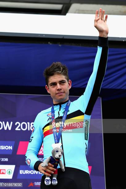 Wout Van Aert of Belgium celebrates after winning bronze in the Men's Road Race during the road cycling on Day Eleven of the European Championships...