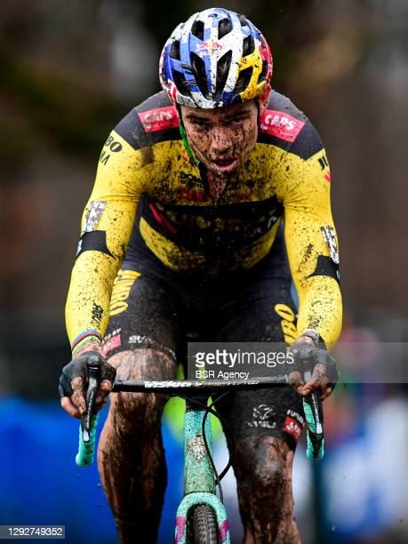 Wout van Aert of Belgium competes during the Elite Men Cyclocross Herentals Crosst on December 23, 2020 in Herentals, Belgium