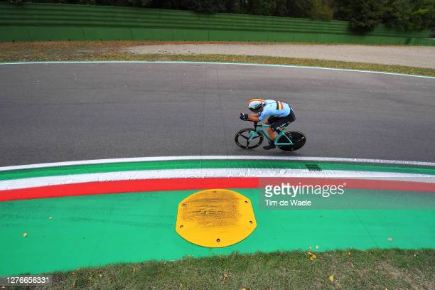 Wout Van Aert of Belgium / during the 93rd UCI Road World Championships 2020 Men Elite Individual Time Trial a 317km race from Imola to Imola...