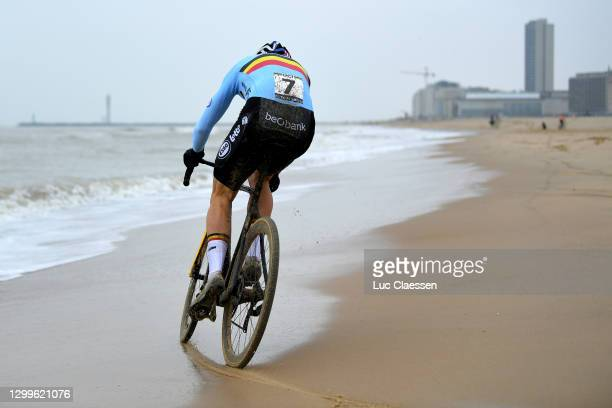 Wout Van Aert of Belgium / Sea / Sand / Beach / during the 72nd UCI Cyclo-Cross World Championships Oostende 2021, Men Elite / @UCI_CX / #CXWorldCup...