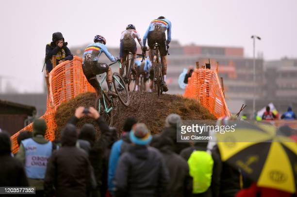 Wout Van Aert of Belgium / Thomas Pidcock of Great Britain / Toon Aerts of Belgium / Public / Landscape / during the 71st Cyclocross World...