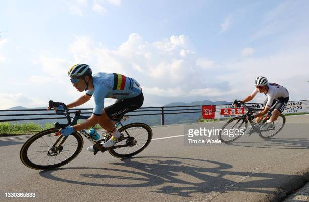 Wout van Aert of Team Belgium & Brandon McNulty of Team United States during the Men's road race at the Fuji International Speedway on day one of the...