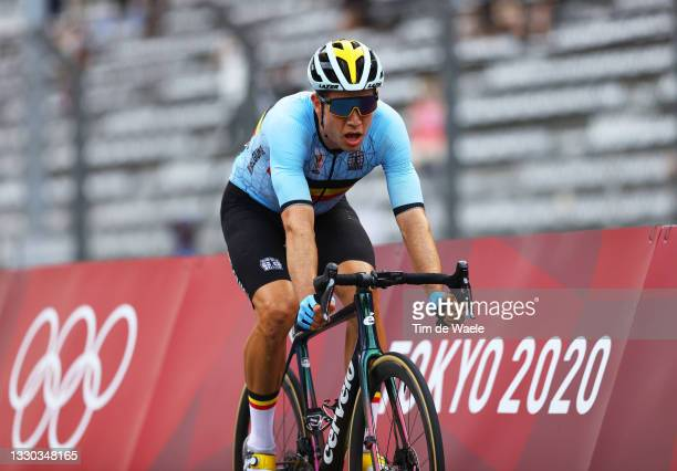 Wout van Aert of Team Belgium celebrates winning the silver medal on arrival during the Men's road race at the Fuji International Speedway on day one...
