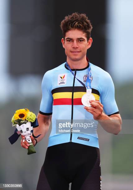 Wout van Aert of Team Belgium poses with the silver medal after the Men's road race at the Fuji International Speedway on day one of the Tokyo 2020...
