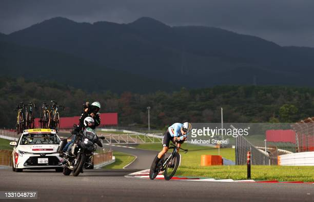 Wout van Aert of Team Belgium rides during the Men's Individual time trial on day five of the Tokyo 2020 Olympic Games at Fuji International Speedway...