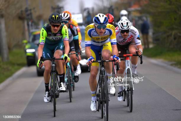 Wout Van Elzakker of Netherlands and Team Vini Zabu' Brado KTM, Ruben Apers of Belgium and Team Sport Vlaanderen - Baloise & Alexis Gougeard of...