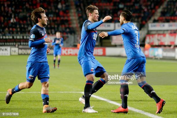Wout Weghorst of AZ Alkmaar celebrates 01 with Joris van Overeem of AZ Alkmaar Wout Weghorst of AZ Alkmaar during the Dutch Eredivisie match between...