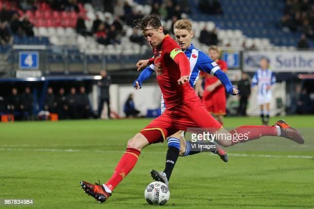 Wout Weghorst of AZ Martin Odegaard of sc Heerenveen during the Dutch Eredivisie match between sc Heerenveen and AZ Alkmaar at Abe Lenstra Stadium on...