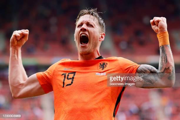 Wout Weghorst of Holland celebrates 2-0 during the International Friendly match between Holland v Georgia at the De Grolsch Veste on June 6, 2021