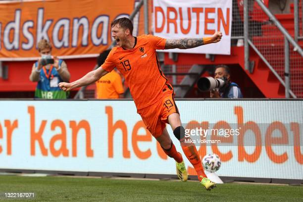 Wout Weghorst of Netherlands celebrates after scoring their side's second goal during the international friendly match between Netherlands and...