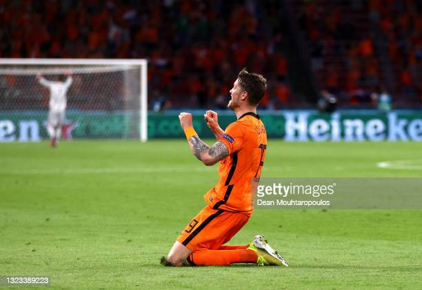 Wout Weghorst of Netherlands celebrates after scoring their side's second goal during the UEFA Euro 2020 Championship Group C match between...