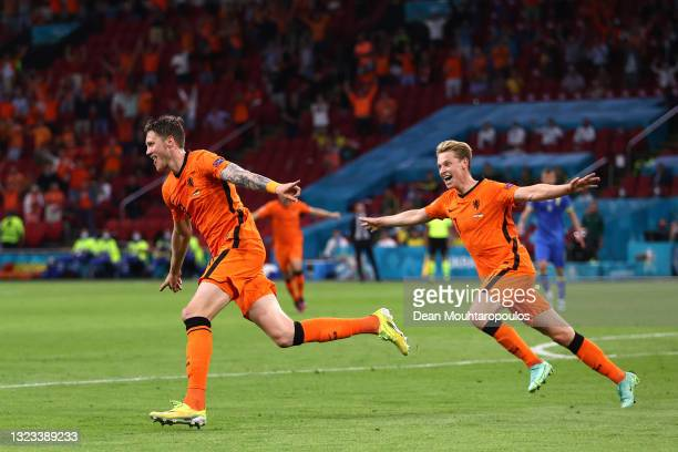 Wout Weghorst of Netherlands celebrates with Frenkie de Jong after scoring their side's second goal during the UEFA Euro 2020 Championship Group C...