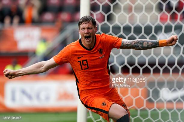 Wout Weghorst of the Netherlands celebrates after scoring his sides second goal during the International Friendly match between Netherlands and...
