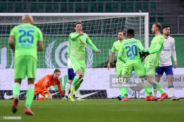 Wout Weghorst of VfL Wolfsburg celebrates after scoring their team's second goal during the Bundesliga match between VfL Wolfsburg and FC Schalke 04...