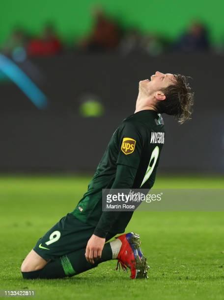 Wout Weghorst of VfL Wolfsburg reacts during the Bundesliga match between VfL Wolfsburg and SV Werder Bremen at Volkswagen Arena on March 03 2019 in...