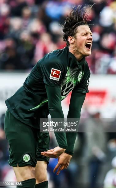 Wout Weghorst of Wolfsburg reacts uring the Bundesliga match between 1. FC Köln and VfL Wolfsburg at RheinEnergieStadion on January 18, 2020 in...