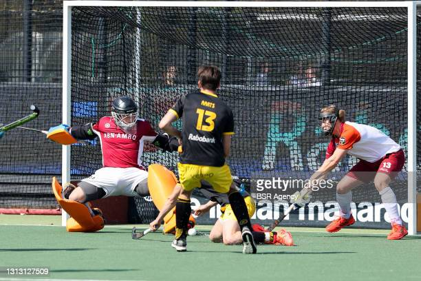 Wouter Jacobs of Almere, Jelle Galema of Den Bosch, Daniel Aarts of Den Bosch, Joep Troost of Almere during the Hoofdklasse match between Den Bosch...