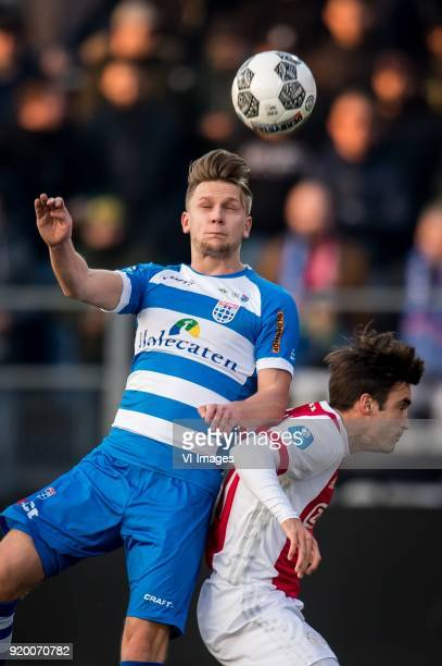 Wouter Marinus of PEC Zwolle Nicolas Tagliafico of Ajax during the Dutch Eredivisie match between PEC Zwolle and Ajax Amsterdam at the MAC3Park...