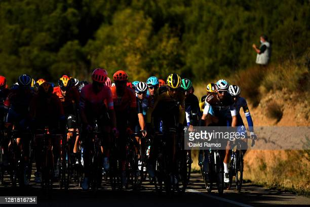 Wouter Poels of The Netherlands and Team Bahrain - Mclaren / Julius Van Den Berg of The Netherlands and Team EF Pro Cycling / David Gaudu of France...