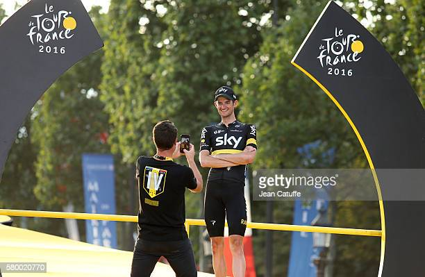 Wouter Poels of The Netherlands and Team Sky poses on the podium following stage 21 last stage of the Tour de France 2016 between Chantilly and the...